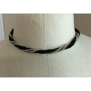 Necklace Silver Black Bead Twisted Choker Necklace